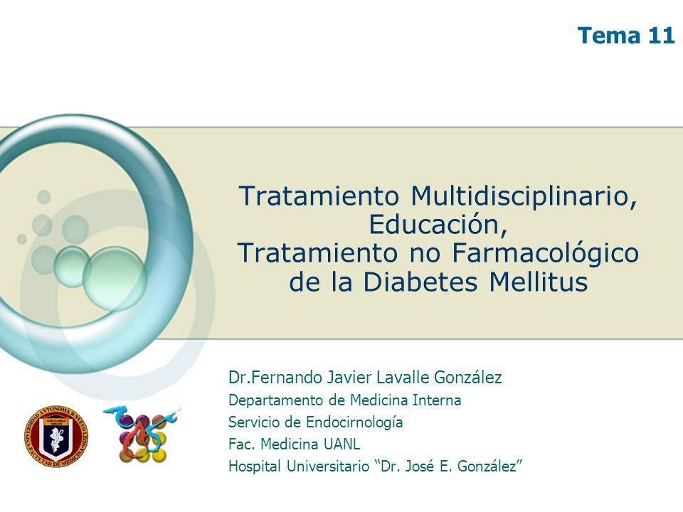 Tratamiento Multidisciplinario, Educación, Tratamiento no Farmacológico de la Diabetes Mellitus Dr.Fernando Javier Lavalle González Departamento de Me