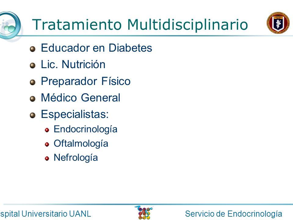 Servicio de EndocrinologíaHospital Universitario UANL Tratamiento Multidisciplinario Educador en Diabetes Lic. Nutrición Preparador Físico Médico Gene