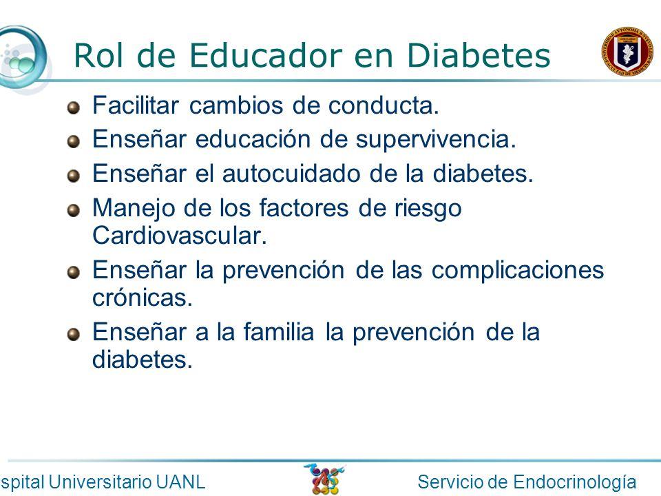 Servicio de EndocrinologíaHospital Universitario UANL Rol de Educador en Diabetes Facilitar cambios de conducta. Enseñar educación de supervivencia. E