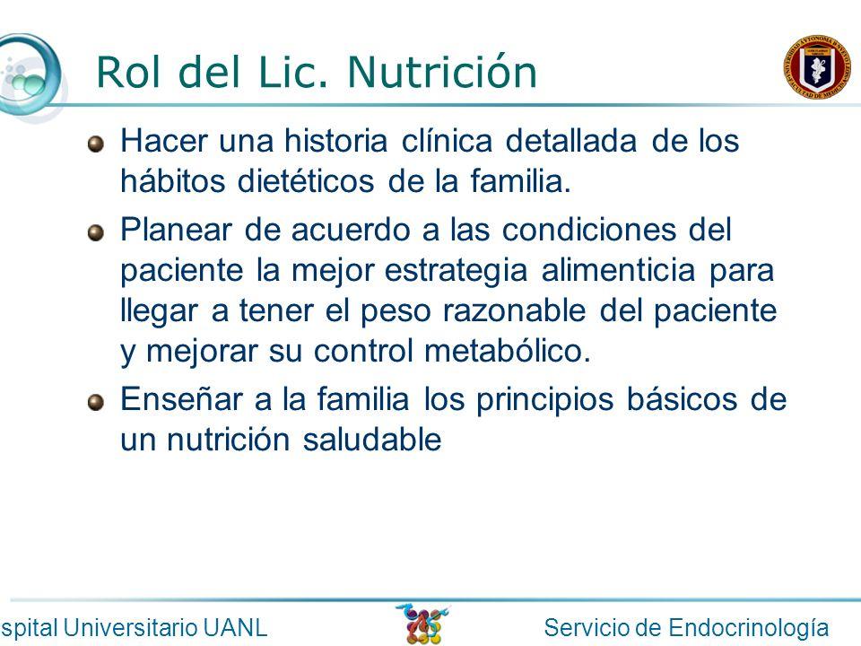 Servicio de EndocrinologíaHospital Universitario UANL Rol del Lic. Nutrición Hacer una historia clínica detallada de los hábitos dietéticos de la fami