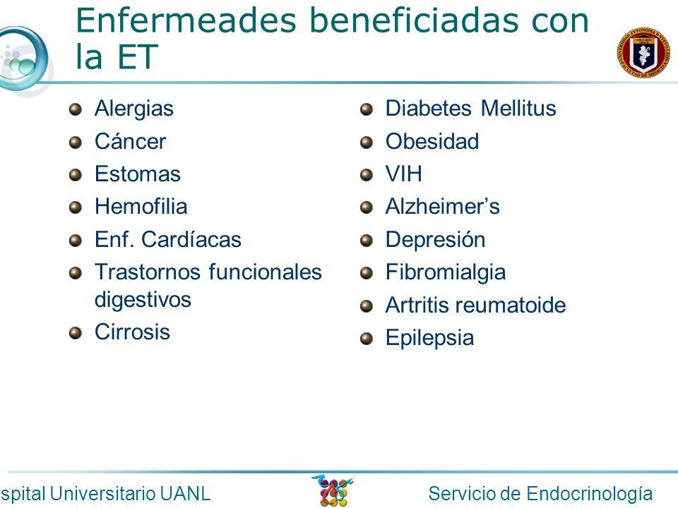 Servicio de EndocrinologíaHospital Universitario UANL Enfermeades beneficiadas con la ET Alergias Cáncer Estomas Hemofilia Enf. Cardíacas Trastornos f