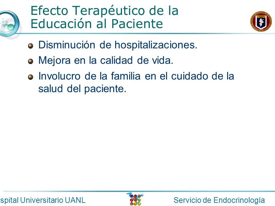Servicio de EndocrinologíaHospital Universitario UANL Efecto Terapéutico de la Educación al Paciente Disminución de hospitalizaciones. Mejora en la ca