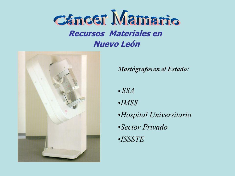 Recursos Materiales en Nuevo León Mastógrafos en el Estado: SSA IMSS Hospital Universitario Sector Privado ISSSTE