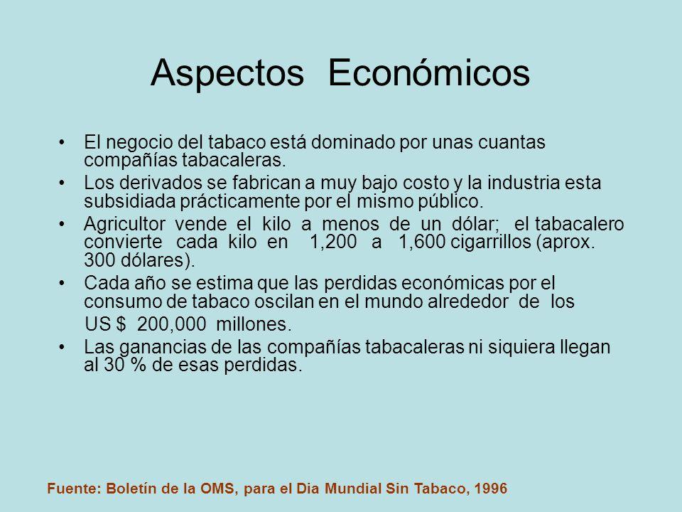 Aspectos Económicos El negocio del tabaco está dominado por unas cuantas compañías tabacaleras.
