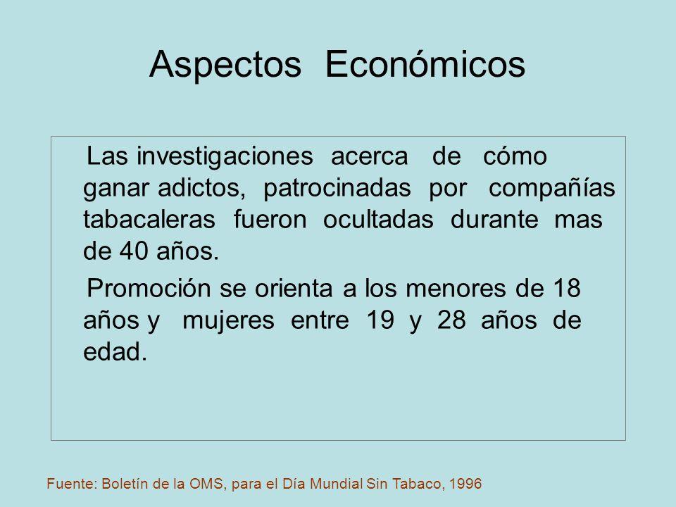 Aspectos Económicos Las investigaciones acerca de cómo ganar adictos, patrocinadas por compañías tabacaleras fueron ocultadas durante mas de 40 años.