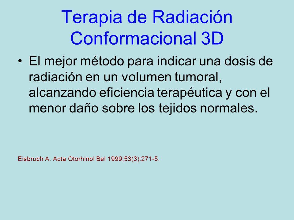 Terapia de Radiación Conformacional 3D El mejor método para indicar una dosis de radiación en un volumen tumoral, alcanzando eficiencia terapéutica y con el menor daño sobre los tejidos normales.
