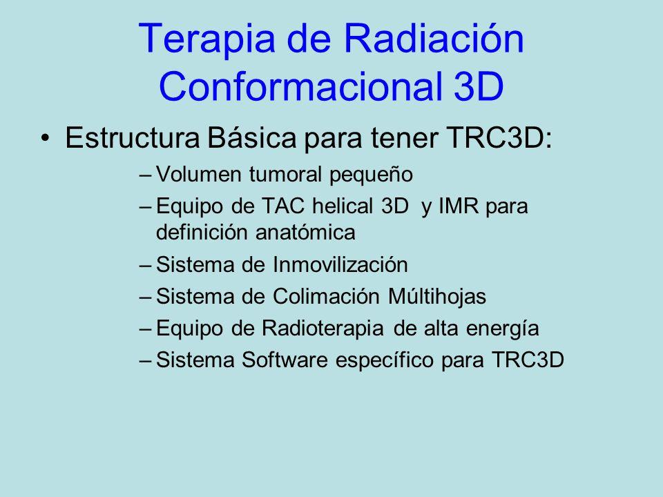 Terapia de Radiación Conformacional 3D Estructura Básica para tener TRC3D: –Volumen tumoral pequeño –Equipo de TAC helical 3D y IMR para definición anatómica –Sistema de Inmovilización –Sistema de Colimación Múltihojas –Equipo de Radioterapia de alta energía –Sistema Software específico para TRC3D