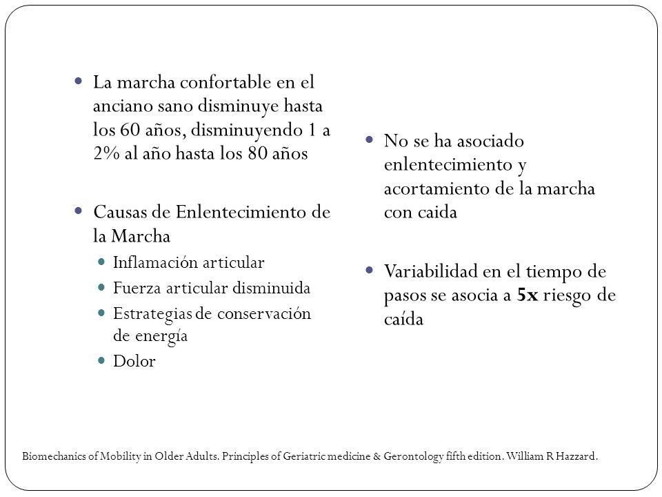 La marcha confortable en el anciano sano disminuye hasta los 60 años, disminuyendo 1 a 2% al año hasta los 80 años Causas de Enlentecimiento de la Mar