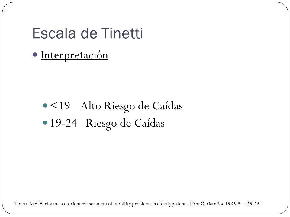 Interpretación <19 Alto Riesgo de Caídas 19-24 Riesgo de Caídas Tinetti ME. Performance-orientedassessment of mobility problems in elderlypatients. J