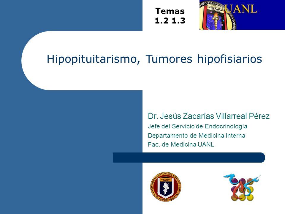 Hipopituitarismo, Tumores hipofisiarios Dr. Jesús Zacarías Villarreal Pérez Jefe del Servicio de Endocrinología Departamento de Medicina Interna Fac.