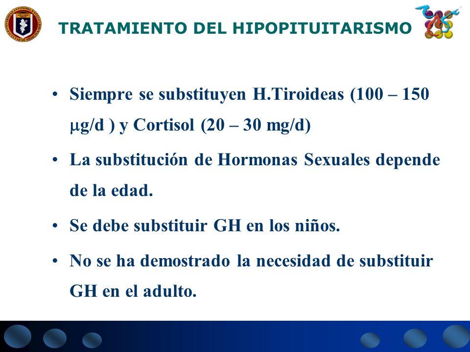 TRATAMIENTO DEL HIPOPITUITARISMO Siempre se substituyen H.Tiroideas (100 – 150 g/d ) y Cortisol (20 – 30 mg/d) La substitución de Hormonas Sexuales de