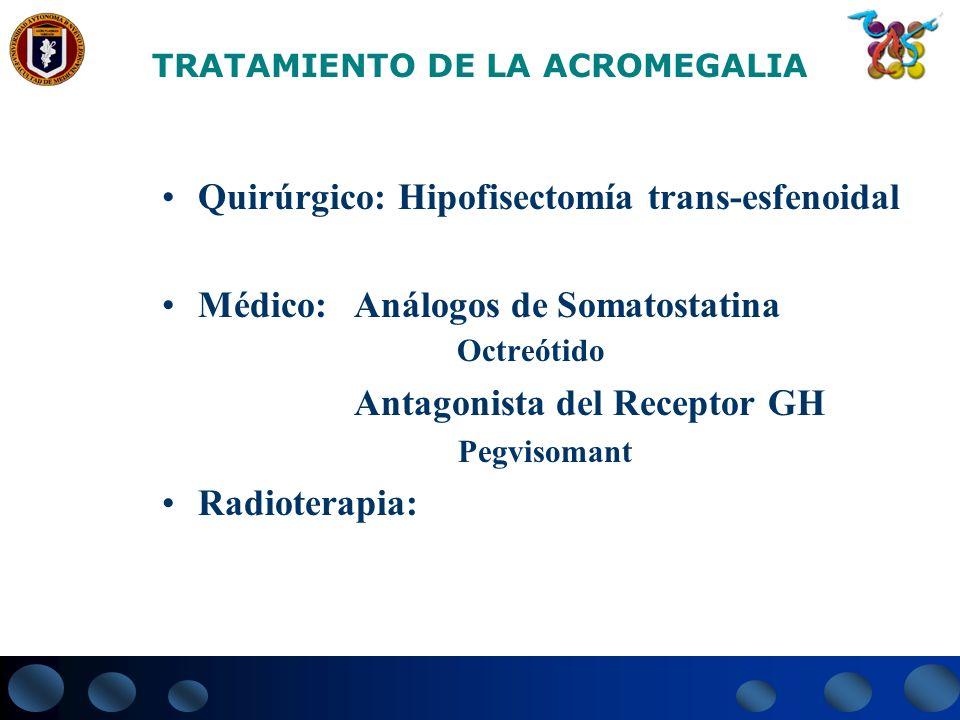 TRATAMIENTO DE LA ACROMEGALIA Quirúrgico: Hipofisectomía trans-esfenoidal Médico: Análogos de Somatostatina Octreótido Antagonista del Receptor GH Peg