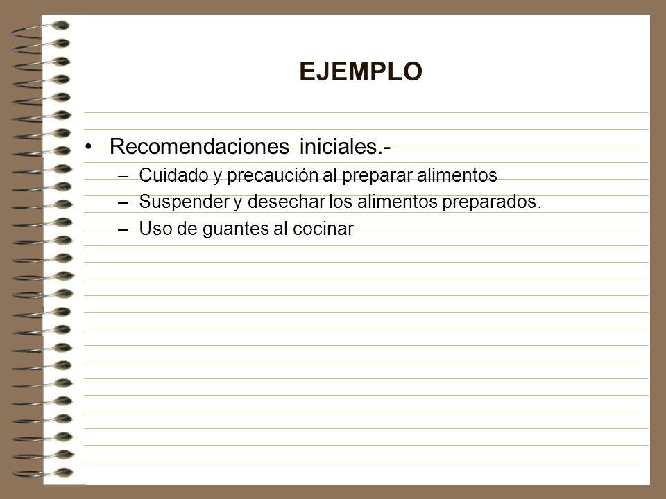 EJEMPLO Recomendaciones iniciales.- –Cuidado y precaución al preparar alimentos –Suspender y desechar los alimentos preparados. –Uso de guantes al coc
