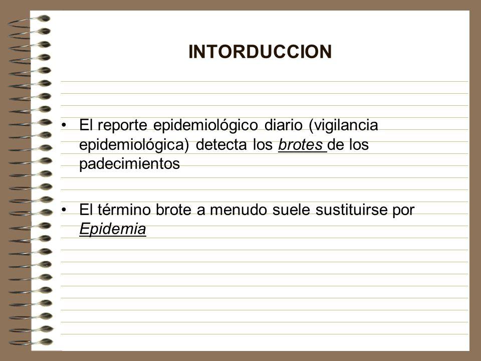 INTORDUCCION El reporte epidemiológico diario (vigilancia epidemiológica) detecta los brotes de los padecimientos El término brote a menudo suele sust