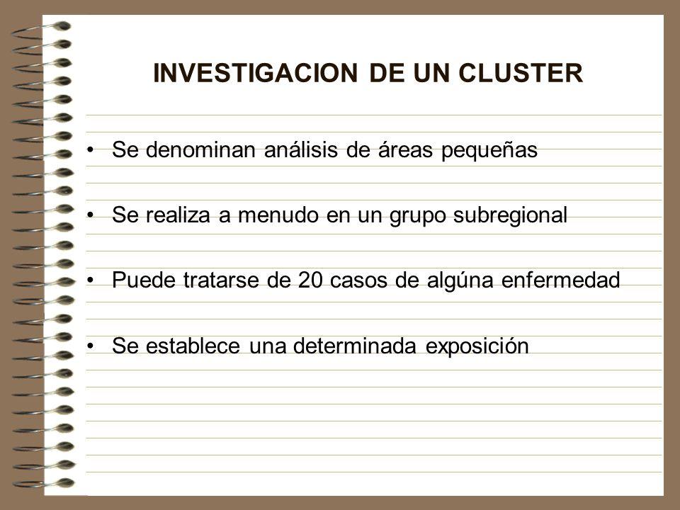 INVESTIGACION DE UN CLUSTER Se denominan análisis de áreas pequeñas Se realiza a menudo en un grupo subregional Puede tratarse de 20 casos de algúna e