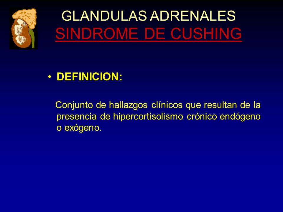 DEFINICION: Conjunto de hallazgos clínicos que resultan de la presencia de hipercortisolismo crónico endógeno o exógeno.