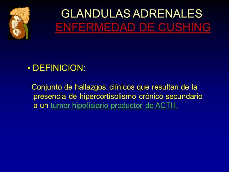 GLANDULAS ADRENALES ENFERMEDAD DE CUSHING DEFINICION: Conjunto de hallazgos clínicos que resultan de la presencia de hipercortisolismo crónico secundario a un tumor hipofisiario productor de ACTH.