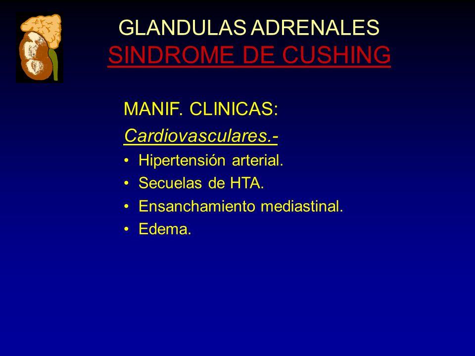 GLANDULAS ADRENALES SINDROME DE CUSHING MANIF. CLINICAS: Cardiovasculares.- Hipertensión arterial.