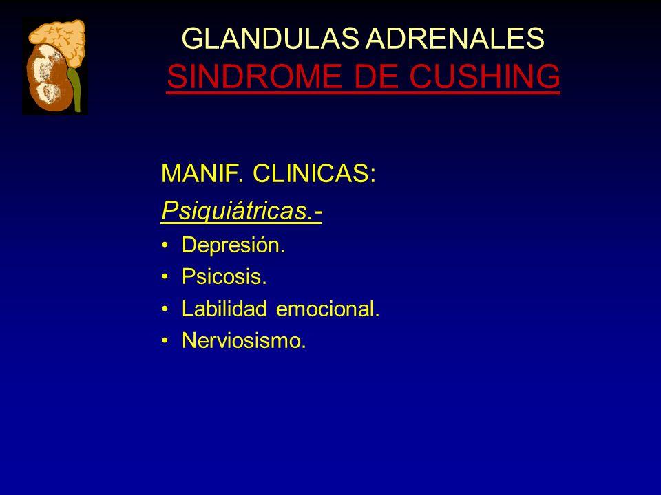 GLANDULAS ADRENALES SINDROME DE CUSHING MANIF. CLINICAS: Psiquiátricas.- Depresión.