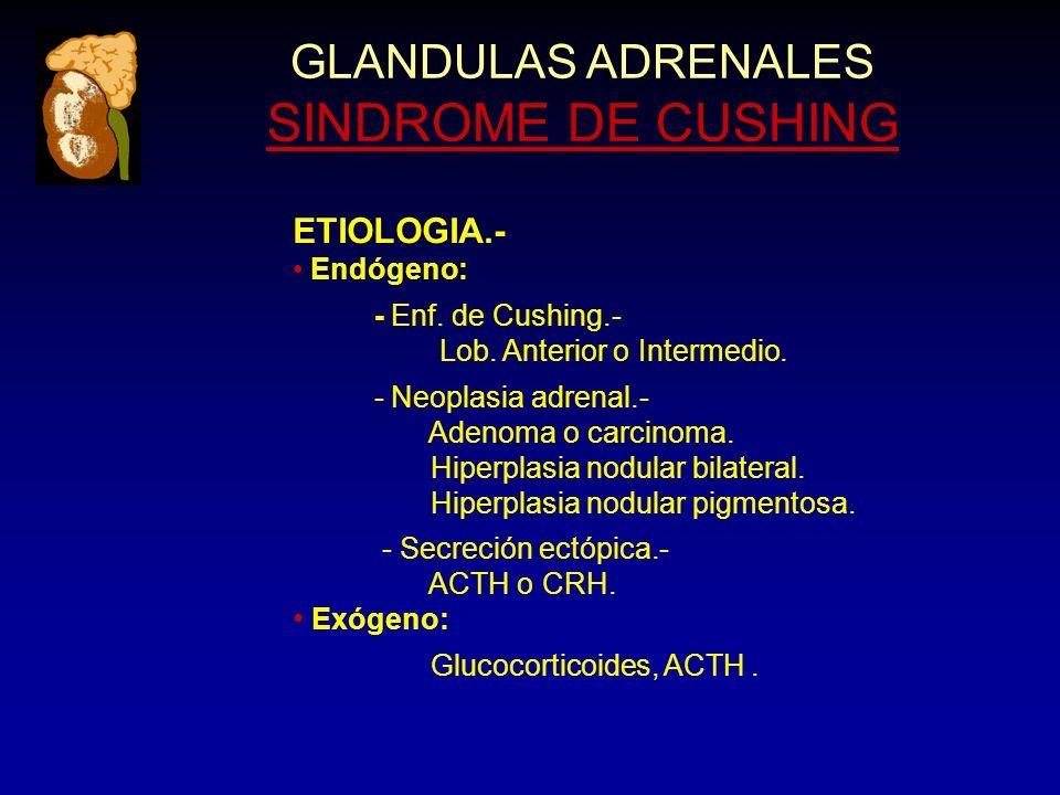 GLANDULAS ADRENALES SINDROME DE CUSHING ETIOLOGIA.- Endógeno: - Enf.