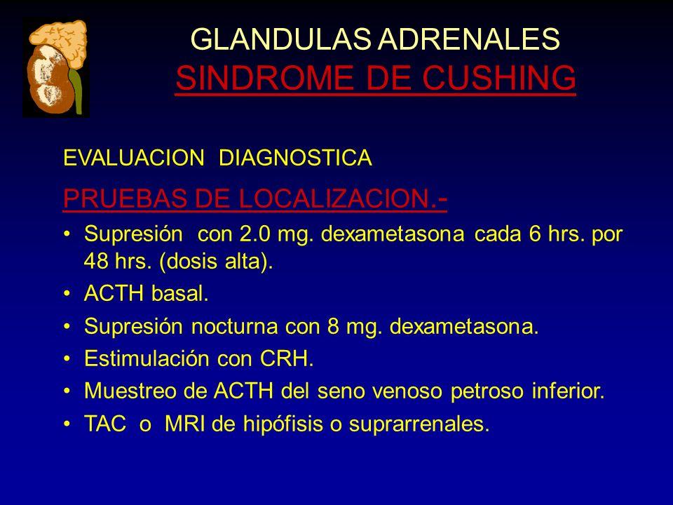 GLANDULAS ADRENALES SINDROME DE CUSHING EVALUACION DIAGNOSTICA PRUEBAS DE LOCALIZACION.- Supresión con 2.0 mg.