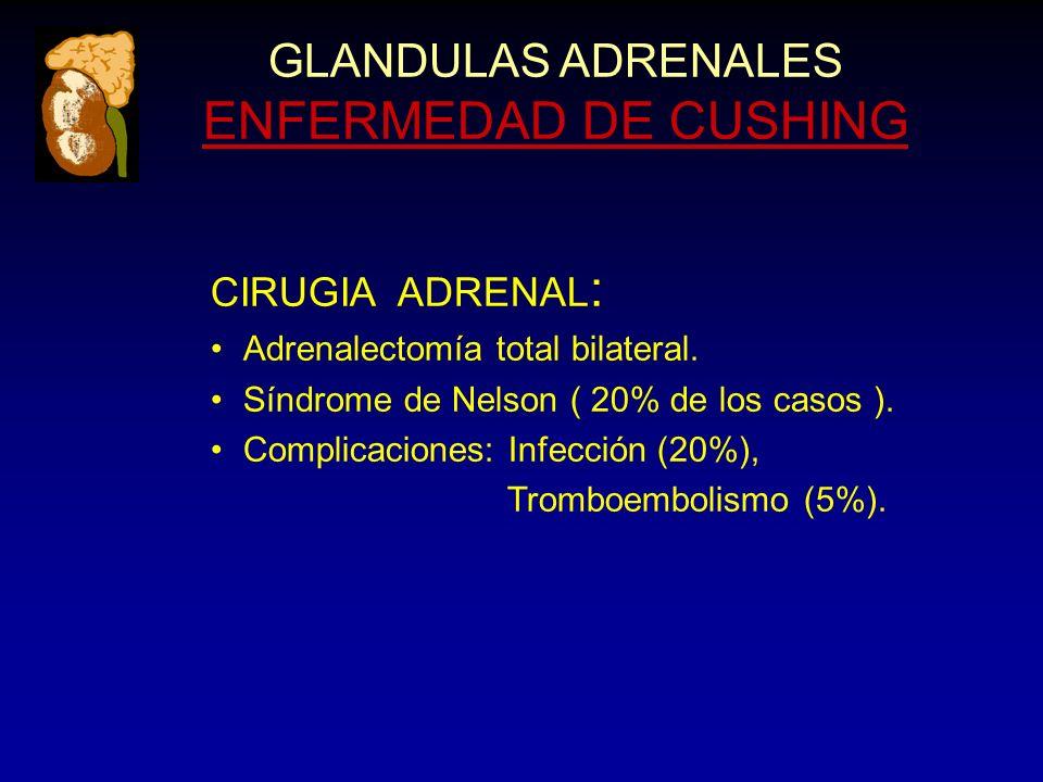 GLANDULAS ADRENALES ENFERMEDAD DE CUSHING CIRUGIA ADRENAL : Adrenalectomía total bilateral.