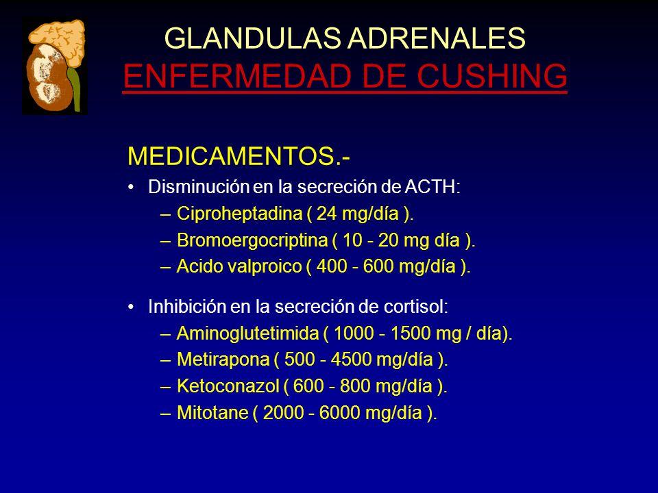 GLANDULAS ADRENALES ENFERMEDAD DE CUSHING MEDICAMENTOS.- Disminución en la secreción de ACTH: –Ciproheptadina ( 24 mg/día ).