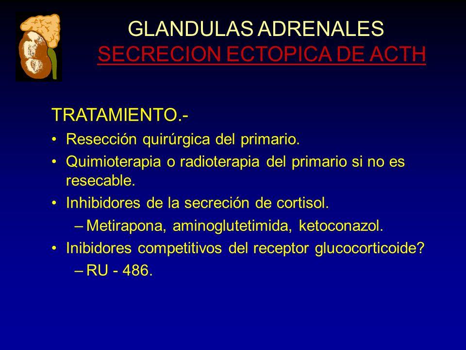 GLANDULAS ADRENALES SECRECION ECTOPICA DE ACTH TRATAMIENTO.- Resección quirúrgica del primario.