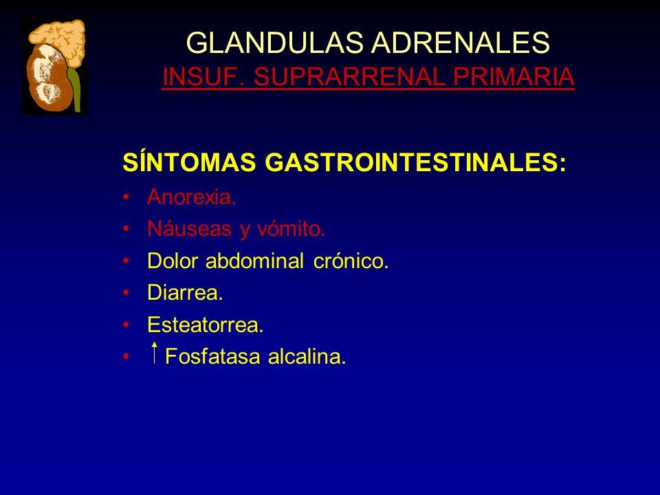 GLANDULAS ADRENALES INSUF. SUPRARRENAL PRIMARIA SÍNTOMAS GASTROINTESTINALES: Anorexia.