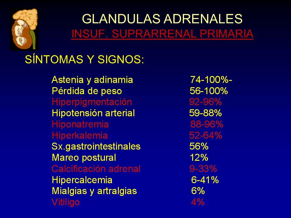 GLANDULAS ADRENALES INSUF. SUPRARRENAL PRIMARIA SÍNTOMAS Y SIGNOS:
