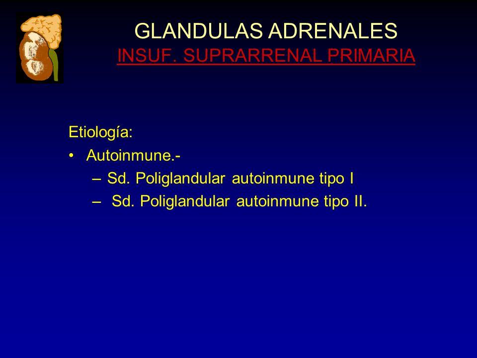 GLANDULAS ADRENALES INSUF. SUPRARRENAL PRIMARIA Etiología: Autoinmune.- –Sd.