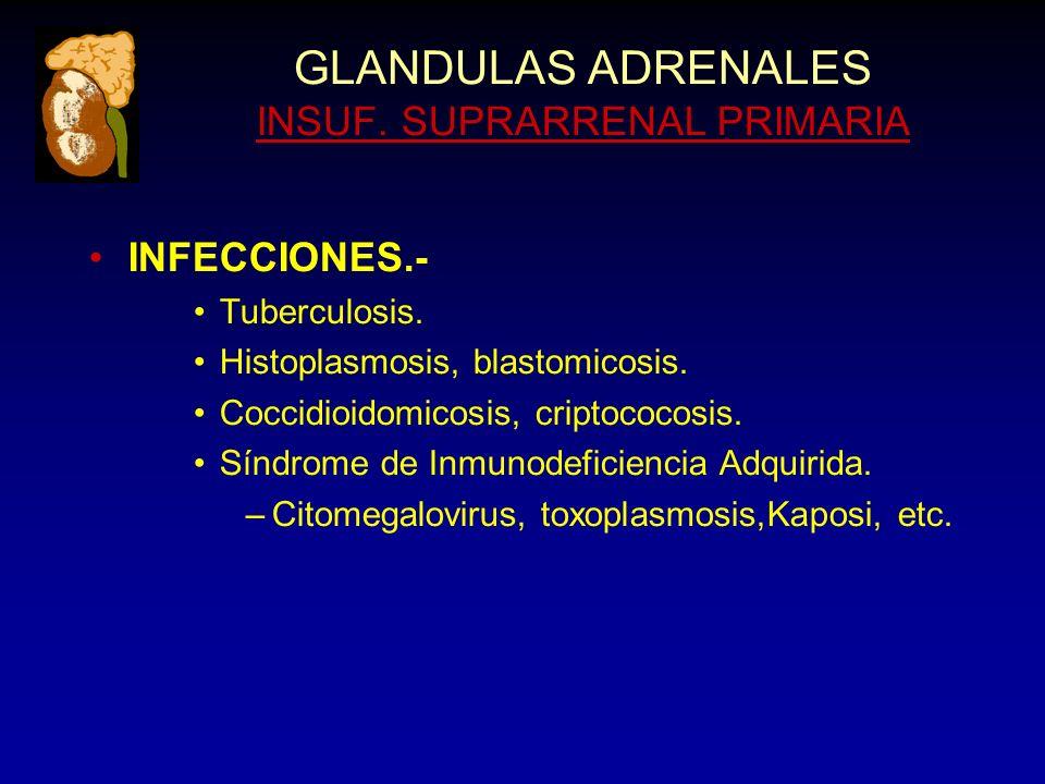 GLANDULAS ADRENALES INSUF. SUPRARRENAL PRIMARIA INFECCIONES.- Tuberculosis.