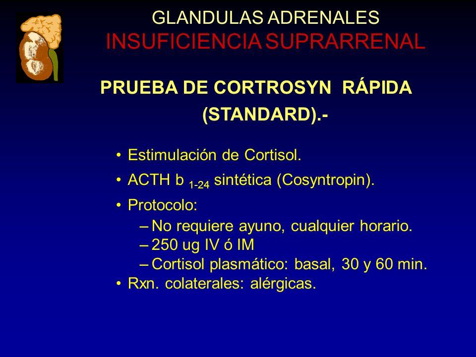PRUEBA DE CORTROSYN RÁPIDA (STANDARD).- Estimulación de Cortisol.