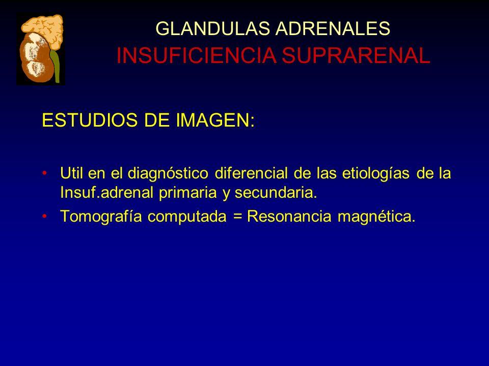 GLANDULAS ADRENALES INSUFICIENCIA SUPRARENAL ESTUDIOS DE IMAGEN: Util en el diagnóstico diferencial de las etiologías de la Insuf.adrenal primaria y secundaria.