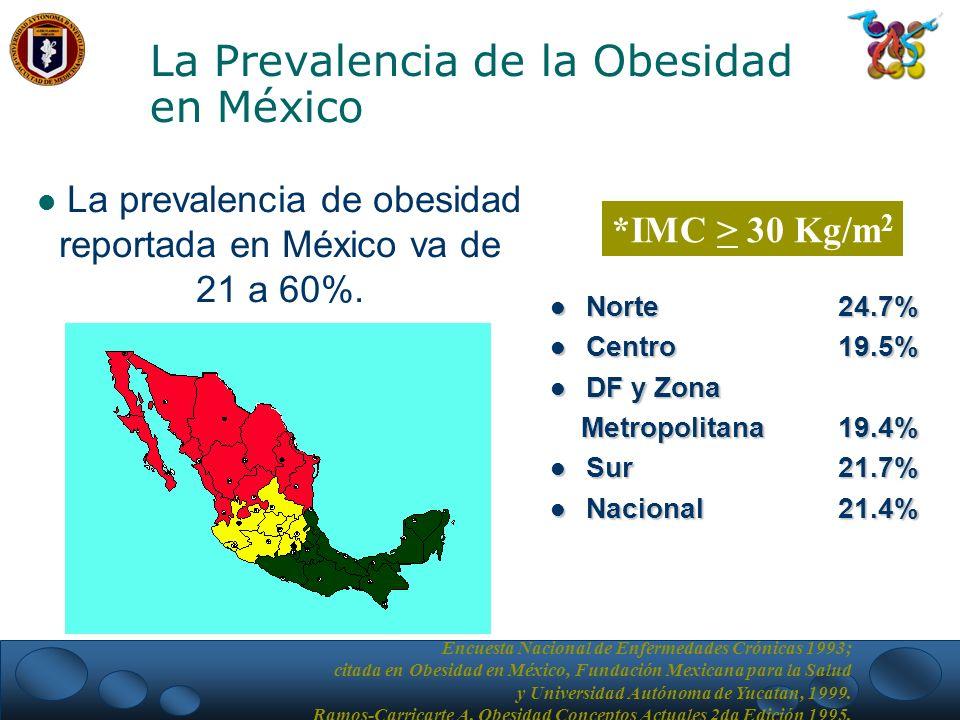 Norte 24.7% Norte 24.7% Centro 19.5% Centro 19.5% DF y Zona DF y Zona Metropolitana 19.4% Metropolitana 19.4% Sur 21.7% Sur 21.7% Nacional21.4% Nacional21.4% *IMC > 30 Kg/m 2 Encuesta Nacional de Enfermedades Crónicas 1993; citada en Obesidad en México, Fundación Mexicana para la Salud y Universidad Autónoma de Yucatan, 1999.