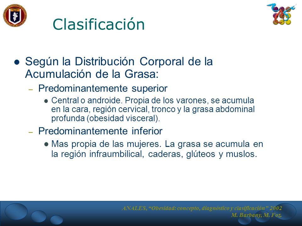 Según la Distribución Corporal de la Acumulación de la Grasa: – Predominantemente superior Central o androide.