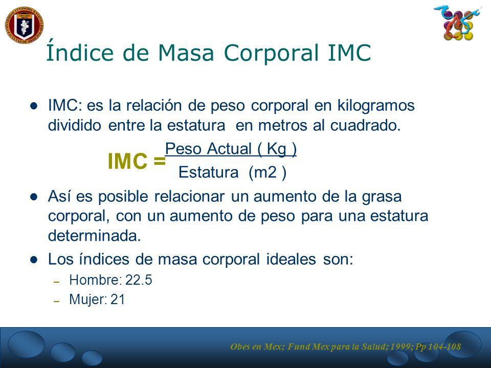 Índice de Masa Corporal IMC IMC: es la relación de peso corporal en kilogramos dividido entre la estatura en metros al cuadrado.