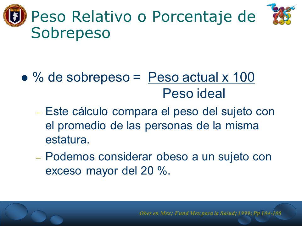 Peso Relativo o Porcentaje de Sobrepeso % de sobrepeso = Peso actual x 100 Peso ideal – Este cálculo compara el peso del sujeto con el promedio de las personas de la misma estatura.