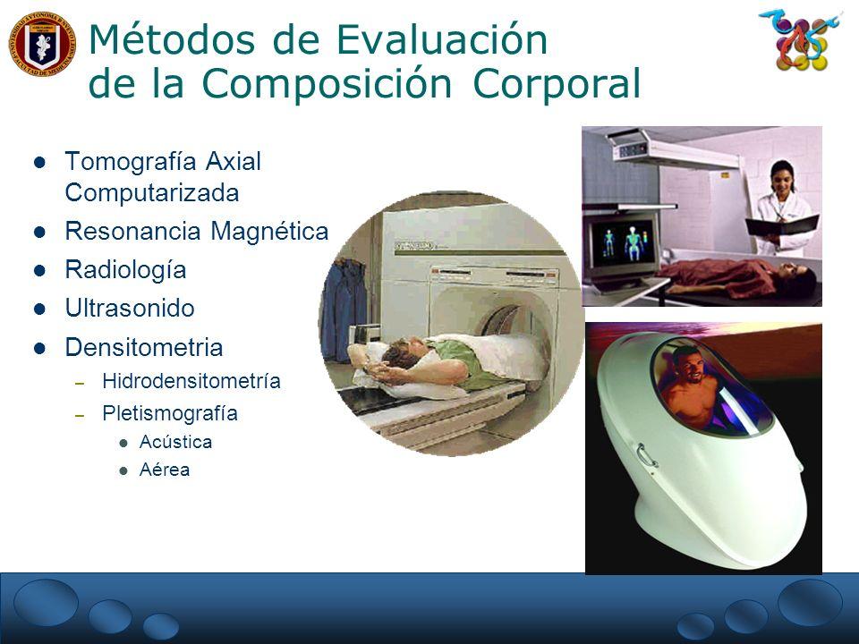 Métodos de Evaluación de la Composición Corporal Tomografía Axial Computarizada Resonancia Magnética Radiología Ultrasonido Densitometria – Hidrodensitometría – Pletismografía Acústica Aérea