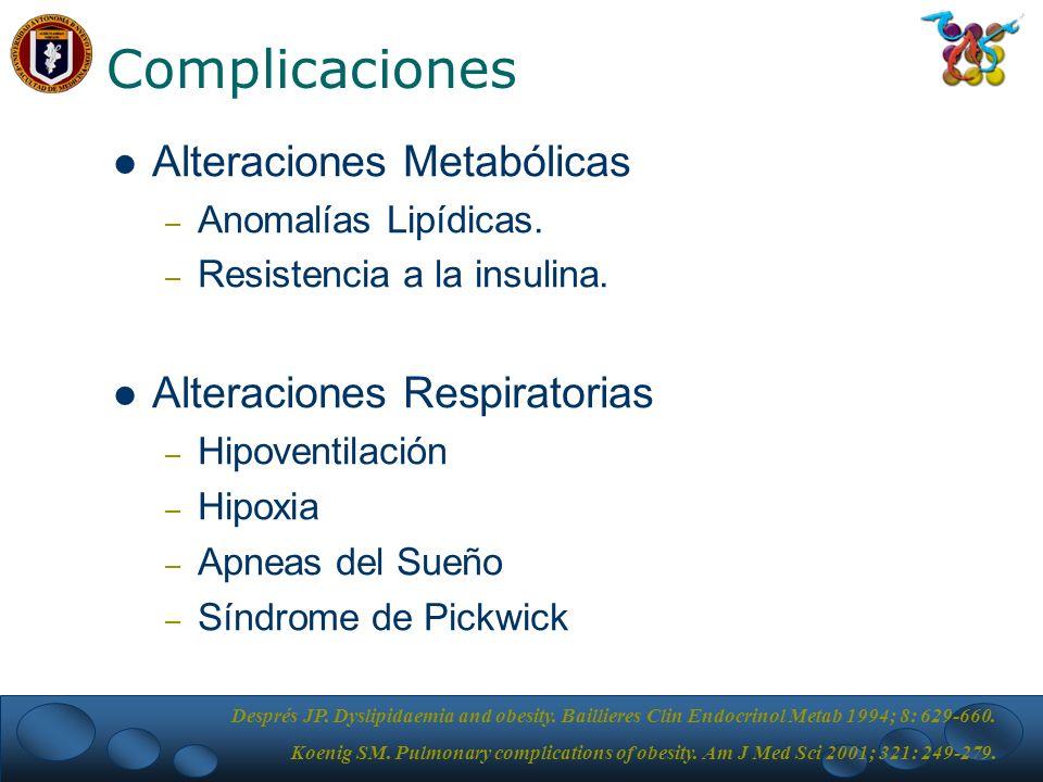 Complicaciones Alteraciones Metabólicas – Anomalías Lipídicas.