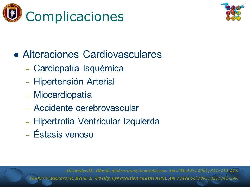 Complicaciones Alteraciones Cardiovasculares – Cardiopatía Isquémica – Hipertensión Arterial – Miocardiopatía – Accidente cerebrovascular – Hipertrofia Ventricular Izquierda – Éstasis venoso Alexander JK.