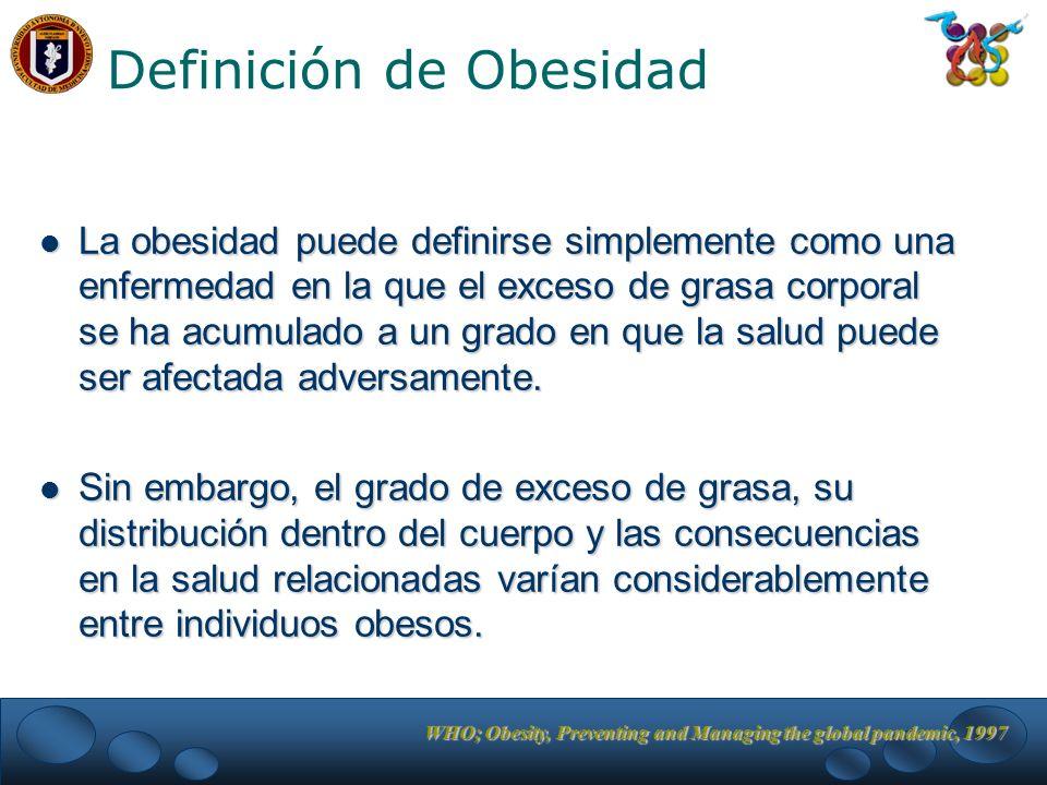 WHO; Obesity, Preventing and Managing the global pandemic, 1997 Definición de Obesidad La obesidad puede definirse simplemente como una enfermedad en la que el exceso de grasa corporal se ha acumulado a un grado en que la salud puede ser afectada adversamente.