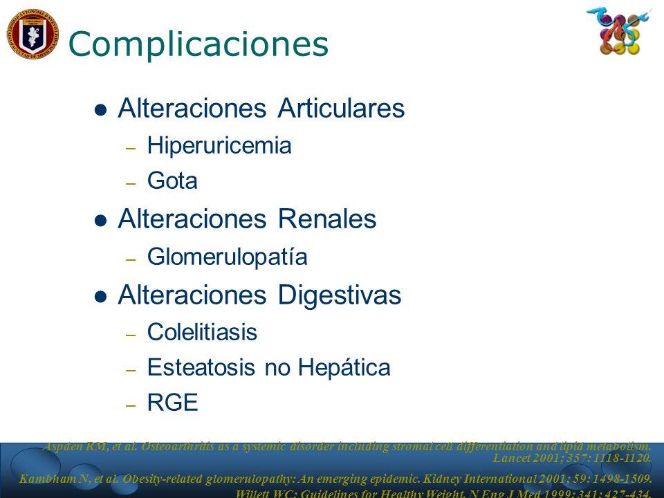 Complicaciones Alteraciones Articulares – Hiperuricemia – Gota Alteraciones Renales – Glomerulopatía Alteraciones Digestivas – Colelitiasis – Esteatosis no Hepática – RGE Aspden RM, et al.