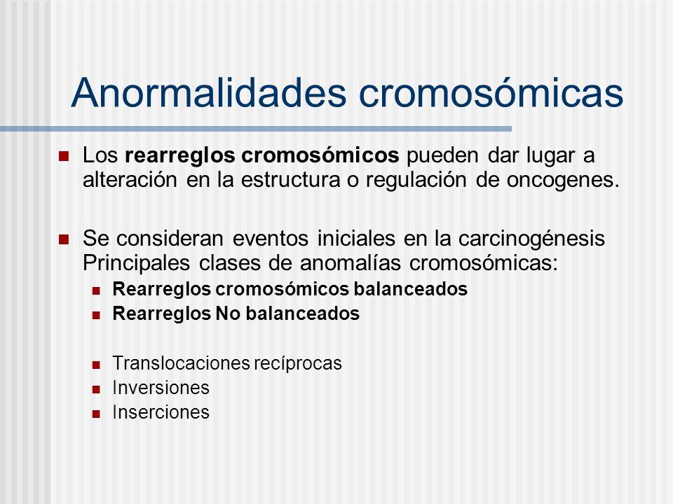 Anormalidades cromosómicas Los rearreglos cromosómicos pueden dar lugar a alteración en la estructura o regulación de oncogenes. Se consideran eventos