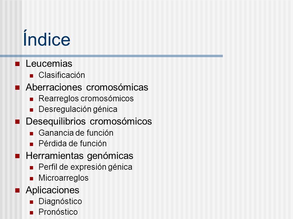 Índice Leucemias Clasificación Aberraciones cromosómicas Rearreglos cromosómicos Desregulación génica Desequilibrios cromosómicos Ganancia de función