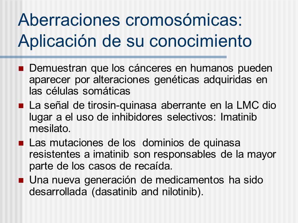 Aberraciones cromosómicas: Aplicación de su conocimiento Demuestran que los cánceres en humanos pueden aparecer por alteraciones genéticas adquiridas