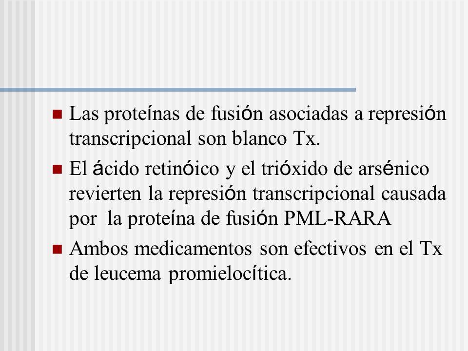 Las prote í nas de fusi ó n asociadas a represi ó n transcripcional son blanco Tx. El á cido retin ó ico y el tri ó xido de ars é nico revierten la re