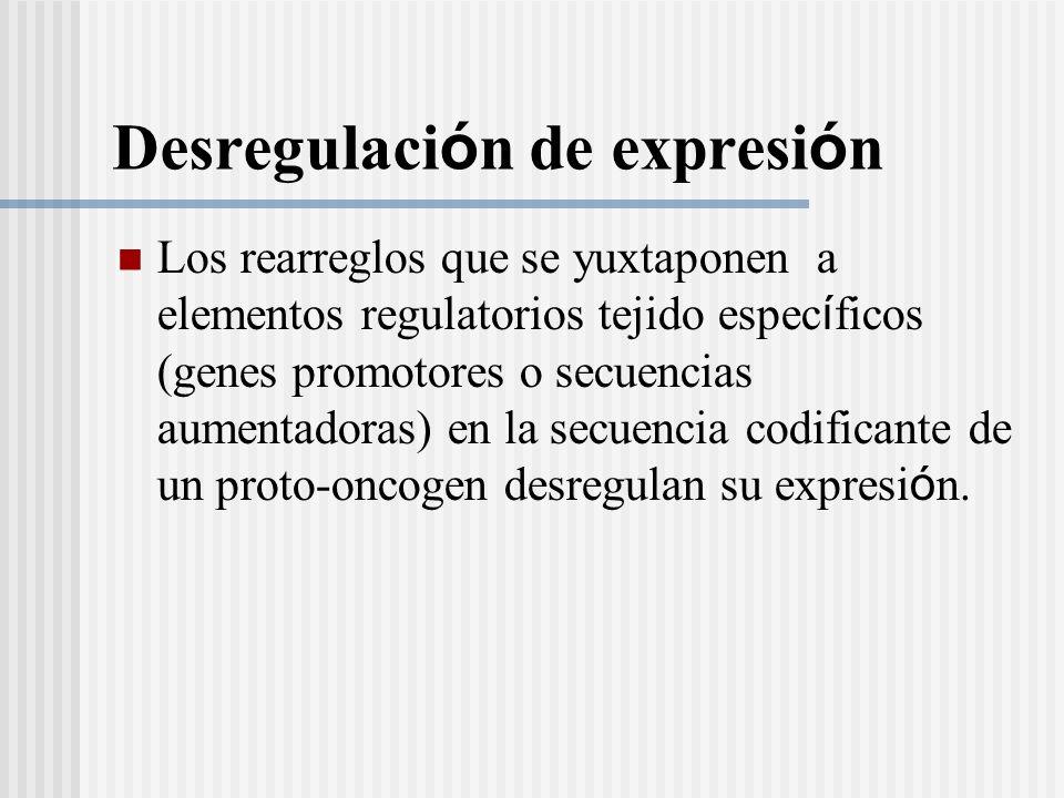 Desregulaci ó n de expresi ó n Los rearreglos que se yuxtaponen a elementos regulatorios tejido espec í ficos (genes promotores o secuencias aumentado