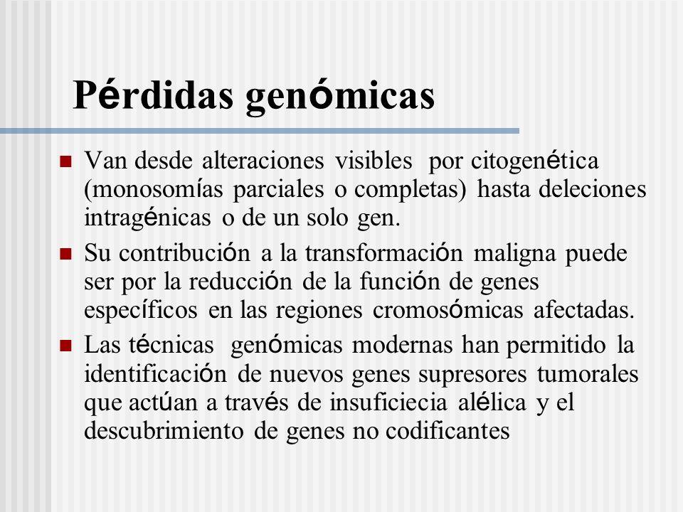 P é rdidas gen ó micas Van desde alteraciones visibles por citogen é tica (monosom í as parciales o completas) hasta deleciones intrag é nicas o de un