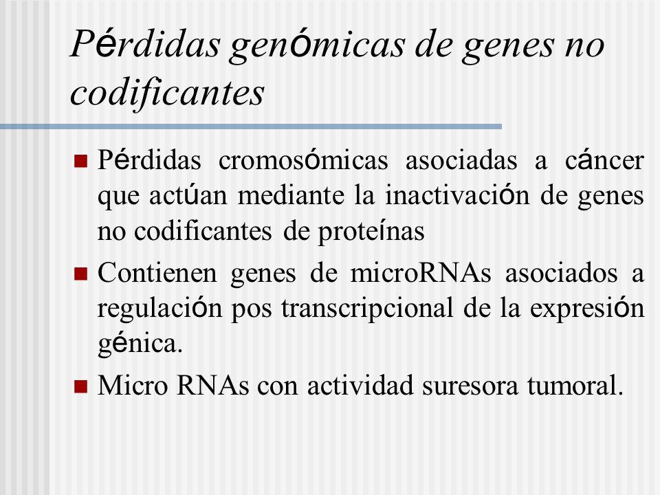 P é rdidas gen ó micas de genes no codificantes P é rdidas cromos ó micas asociadas a c á ncer que act ú an mediante la inactivaci ó n de genes no cod